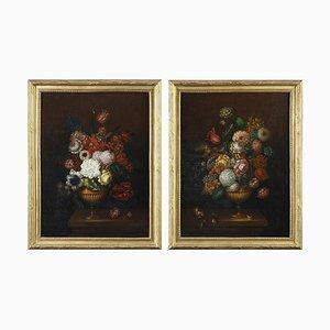Gemälde von Blumensträußen, 19. Jh., 2er Set