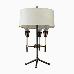 Mid-Century Tripod Black and Gilded Metal Table Lamp