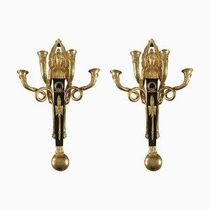 Empire Bronze Wandleuchten, 19. Jh., 2er Set