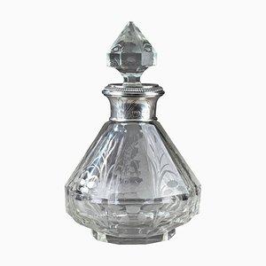 Spätes 19. Jh. Jugendstil Flasche aus Kristallglas & Silber