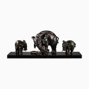 Art Deco Elefant mit Baby Elefanten von Ulisse Caputo