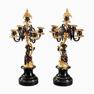 Candelabro de bronce con Putti, siglo XIX. Juego de 2