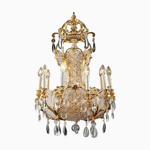 Lustre en Forme de Panier à 10 Lampes et Cristal, 19ème Siècle