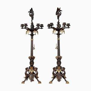 Candelabro grande de bronce, siglo XIX. Juego de 2