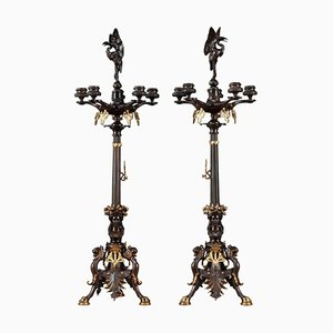 Grands Candélabres en Bronze, 19ème Siècle, Set de 2