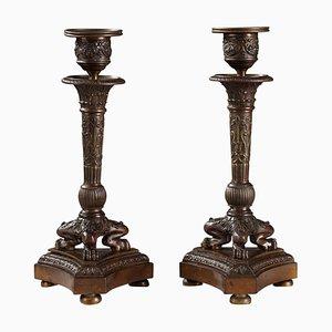 Portacandele in bronzo patinato, set di 2