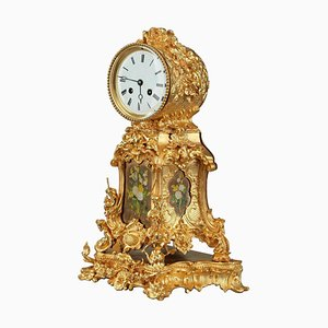 Late 19th Century Ormolu Mantel Clock with Floral Decoration