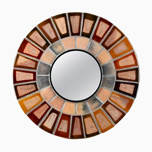 Specchio rotondo in ceramica di Roger Capron