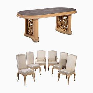 Tavolo da pranzo in sicomoro e sedie, anni '50, set di 7