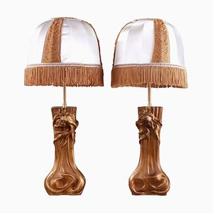 Art Nouveau Mounted Lamps with Nymphs, Set of 2