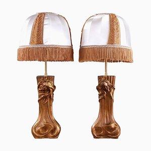 Lampes Art Nouveau avec Nymphes, Set de 2