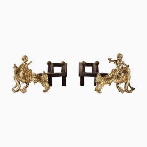 Louis XV Kaminböcke aus vergoldeter Bronze, 18. Jh., 2er Set