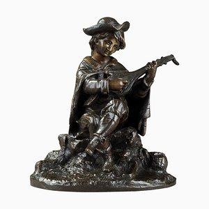 19th-Century Bronze Sculpture Mandolin Player