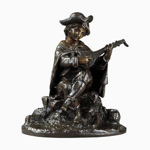 Bronze-Skulptur, 19. Jh. Mandolinen-Spieler