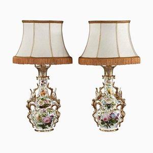 Französische Louis XV Tischlampen aus Porzellan, 2er Set