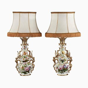 Louis XV Style French Porcelain Table Lamps, Set of 2