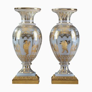 Restoration Opaline Glass Vases by Jean-Baptiste Desvignes, Set of 2