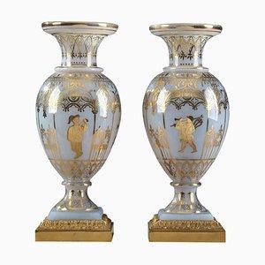 Restoration Vasen aus Opalglas von Jean-Baptiste Desvignes, 2er Set