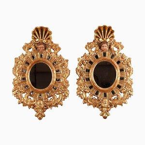 Spiegel mit vergoldetem Holzrahmen im venezianischen Stil, 19. Jh., 2er Set