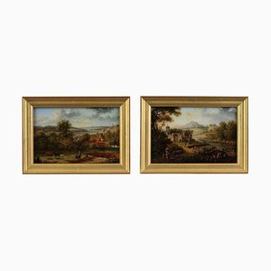 Early 19th Century Reverse Glass Paintings by Lebelle, Set of 2, Framed