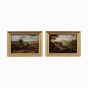 Pinturas de vidrio invertidas de Lebelle, principios del siglo XIX. Juego de 2