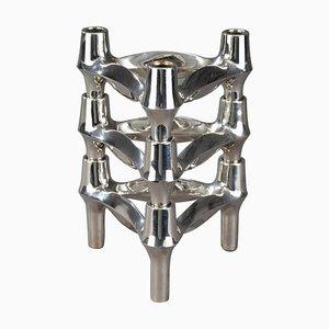 Candeleros de metal cromado de BMF. Juego de 3