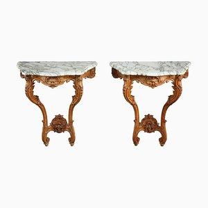 Louis XV Konsolentische mit Marmorplatten, 2er Set