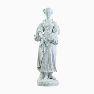 19th-Century Biscuit Statuette of a Young Woman with Flowers