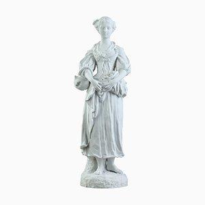 Statuette de Jeune Femme avec Fleurs, 19ème Siècle
