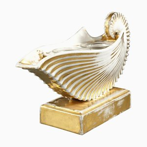 19th-Century Shell-Shaped White Porcelain Inkwell
