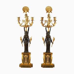 Candélabres à 3 Branches Empire en Bronze, Set de 2