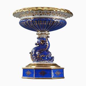 Plat de Service Mid-Century avec Dauphin en Porcelaine Polychrome