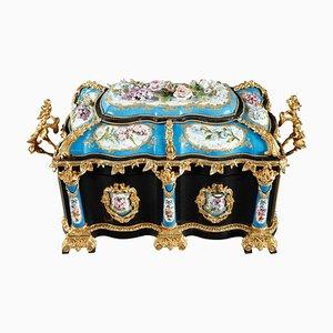 Large Ebony and Porcelain Coffer from Alphonse Giroux