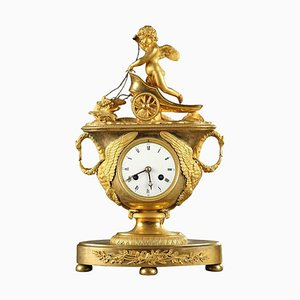 Early 19th-Century Empire Mantel Clock with Cupid in a Chariot