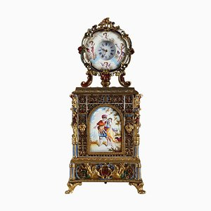 Viennese Enamel and Gilt Brass Table Clock, Mid-19th-Century