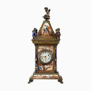Viennese Enamel and Silver Clock, 19th-Century