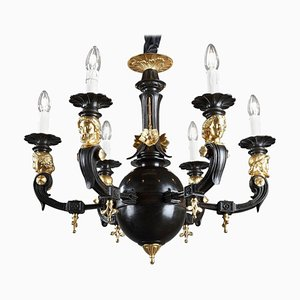 Antique Restoration Six-Light Bronze Chandelier