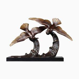 Statuetta di gabbiani in bronzo di Enrique Molins
