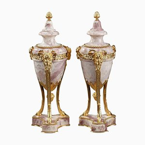 Large 19th-Century Louis XVI Style Covered Urns, Set of 2