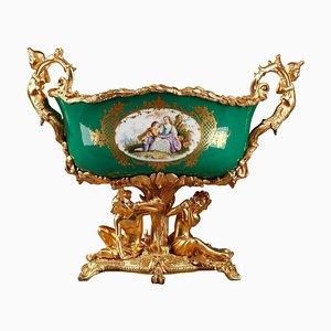 Napoleon III Jardinière aus grünem geschliffenem Porzellan mit vergoldeter Bronze