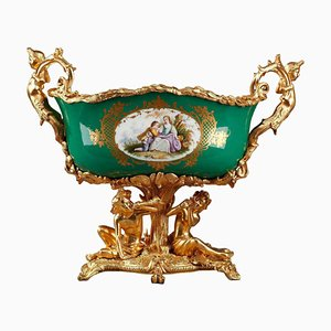 Vaso Napoleone III in porcellana verde