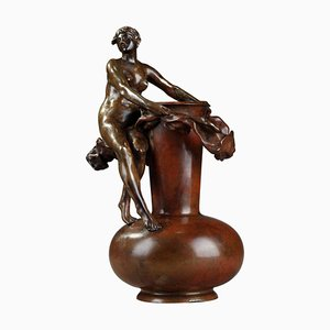 Jugendstil Vase aus Bronze von Jean-Paul Aubé, spätes 19. Jh