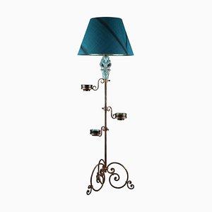 Floor Lamp with Blue Ceramic Figure, 1950s