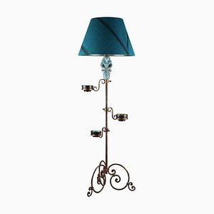 Stehlampe mit blauer Keramikfigur, 1950er