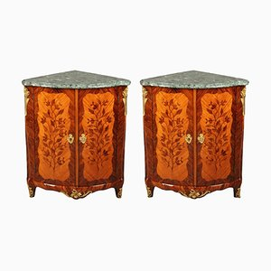 18th-Century Corner Cabinets with Flower Marquetry, Set of 2