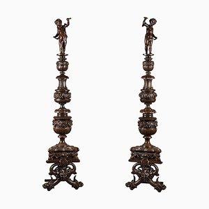 19th-Century Napoleon III Andirons in Patinated Bronze, Set of 2