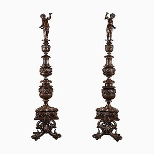 Alari Napoleone III in bronzo patinato, XIX secolo