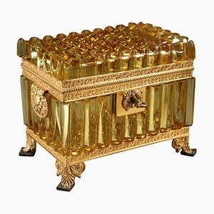 Französische Bernsteinfarbene Kristallbox, 19. Jh