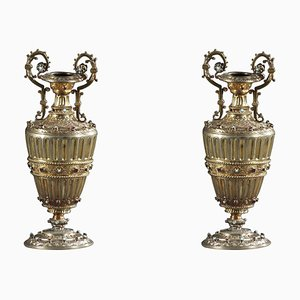 Vasi austro-ungarici in argento dorato con pietre preziose, XIX secolo