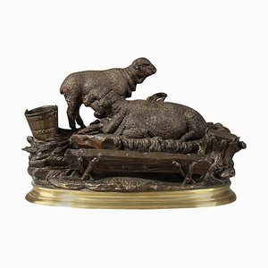 Bronze Inkwell Les Moutons à L'Abreuvoir Sculpture by Jules Moigniez